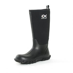 "Duck and Fish Buck Man 16"" Black Fishing Hunting Neoprene Rubber Knee Boot"